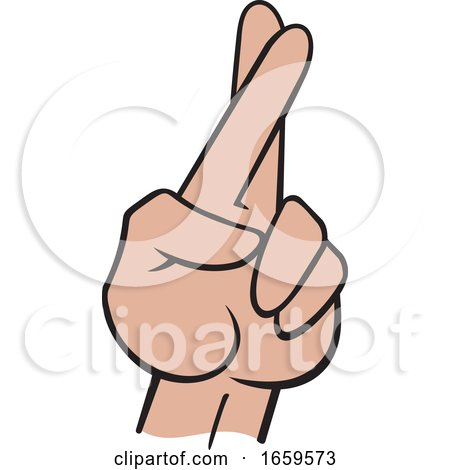 Cartoon Hispanic Female Hand with Crossed Fingers by Johnny Sajem
