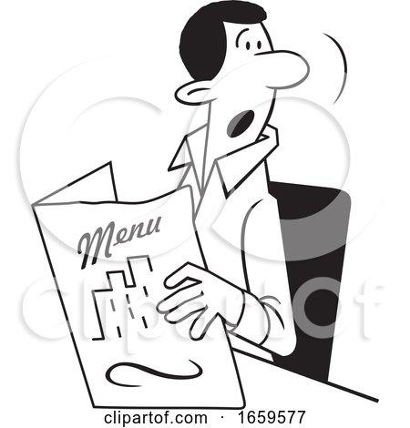 Cartoon Lineart Man Holding a Restaurant Menu by Johnny Sajem