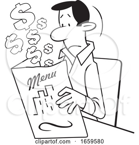 Cartoon Lineart Man Looking at an Expensive Restaurant Menu by Johnny Sajem