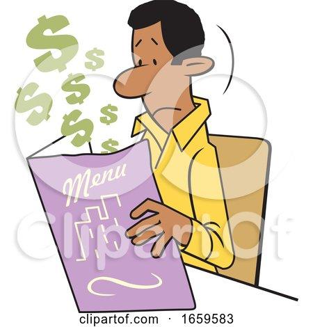 Cartoon Black Man Looking at an Expensive Restaurant Menu by Johnny Sajem