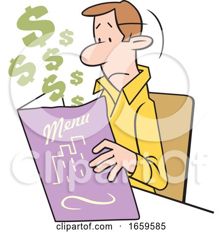 Cartoon White Man Looking at an Expensive Restaurant Menu by Johnny Sajem