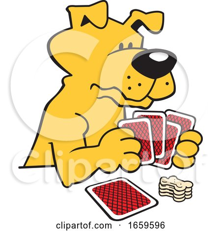Cartoon Dog Playing Poker by Johnny Sajem