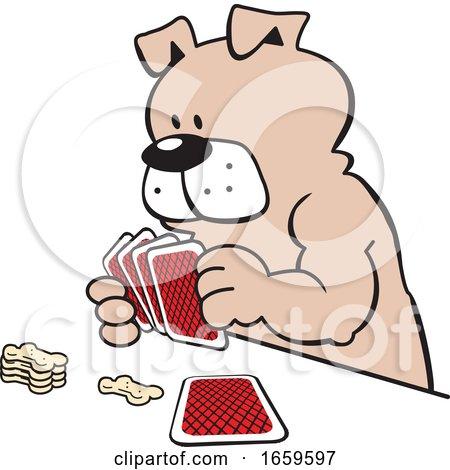 Cartoon Dog Playing Poker by Johnny Sajem