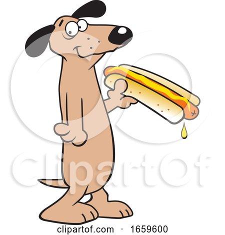 Cartoon Dachshund Holding a Hot Dog by Johnny Sajem