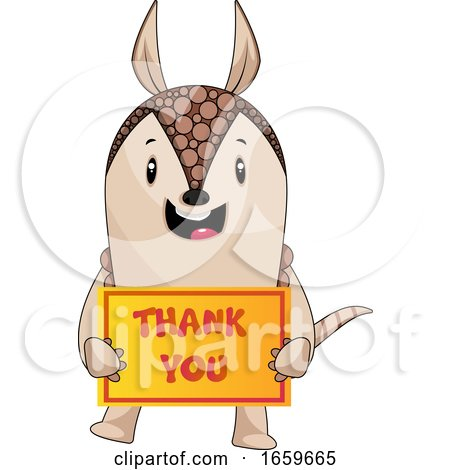 Armadillo with Thank You Sign by Morphart Creations