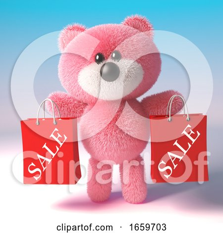Bargain Hunter Pink Fluffy Teddy Bear Character Has Two Sale Shopping Bags by Steve Young