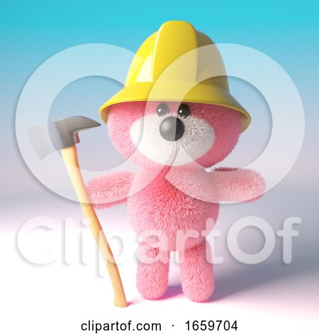 Brave Pink Fluffy Teddy Bear Character Dressed As a Firefighter Fireman Holding a Fire Axe by Steve Young