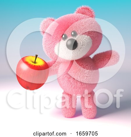 Hungry Pink Fluffy Teddy Bear Eating a Delicious Healthy Red Apple by Steve Young