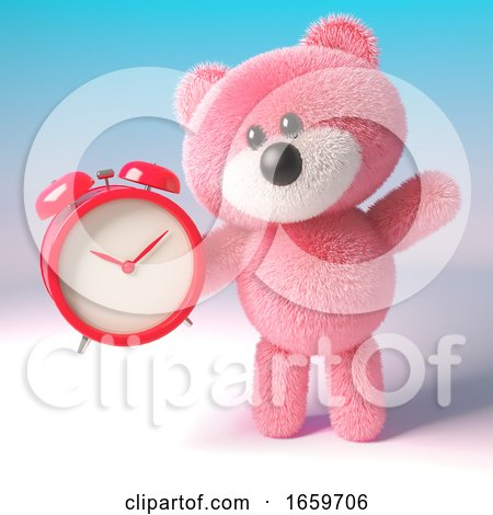 Pink Teddy Bear with Soft Fur Holding an Alarm Clock to Set for a Morning Alarm by Steve Young
