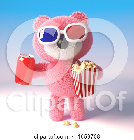 Teddy Bear with Pink Fur Eating Popcorn and Drinking a Can of Soda While Watching a 3d Movie by Steve Young