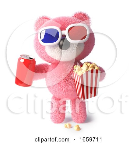 Cute Cuddly Pink Teddy Bear Eating Popcorn and Drinking Soda While Watching a 3d Movie by Steve Young