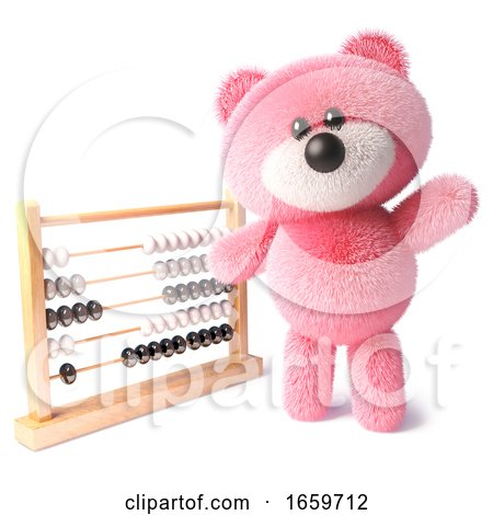 Clever Teddy Bear with Pink Fur Waving While Learning to Count Using an Abacus by Steve Young