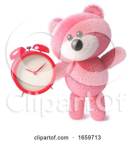 Cuddly Pink Fluffy Teddy Bear Toy Setting the Alarm for the Morning by Steve Young