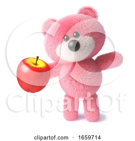 Fluffy Pink Teddy Bear Character Holding a Juicy Red Apple by Steve Young