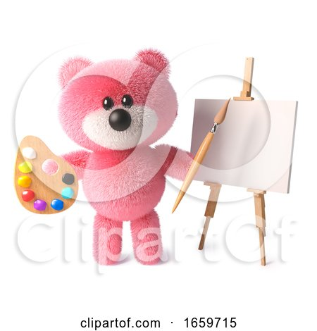 Clever Teddy Bear with Cuddly Pink Fur Is an Artist with Paintbrush Palette and Easel by Steve Young
