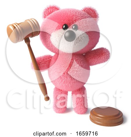 Auctioneer Pink Teddy Bear Character Holding Auction Gavel by Steve Young