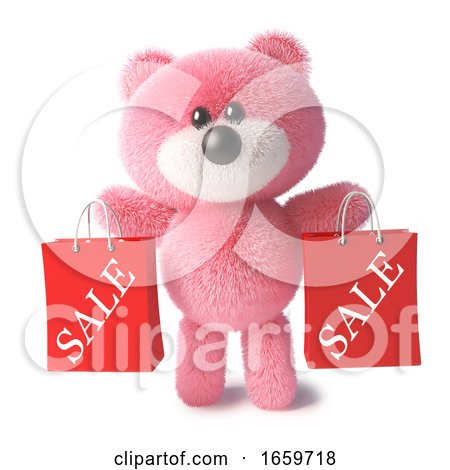 Happy Pink Teddy Bear with Soft Fur Holding Shopping Bags from the Sales by Steve Young