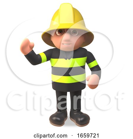 Fireman Firefighter Character in High Visibility Character Waving Hello by Steve Young