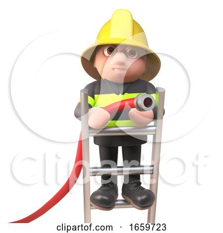 Brave Fireman Firefighter Character Fighting a Fire with a Hose up a Ladder by Steve Young