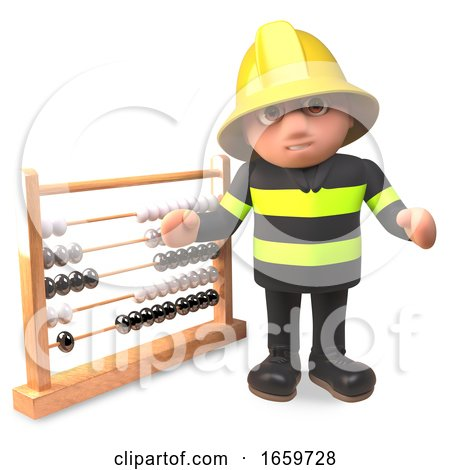 Cartoon Fireman Firefighter Character Points to an Abacus by Steve Young