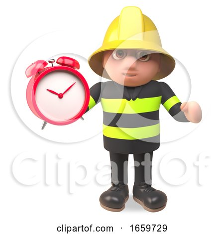 Brave Hero Firefighter Fireman Character Setting His Alarm Clock by Steve Young