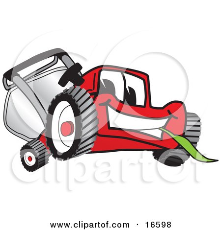 Red Lawn Mower Mascot Cartoon Character Smiling and Eating Grass Posters, Art Prints