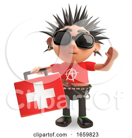 Helpful 3d Punk Rock Character Brings a First Aid Kit by Steve Young