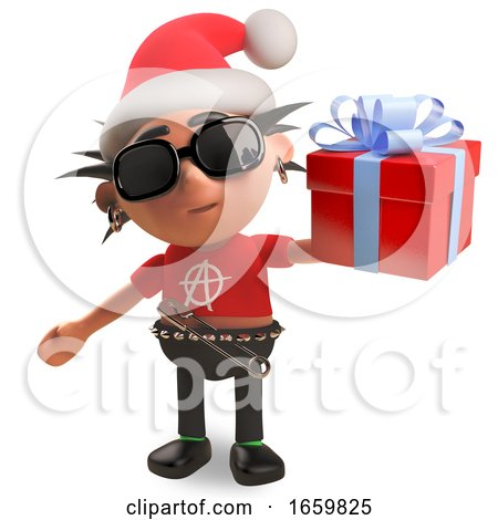 Punk Rocker with Spikey Hair Wearing a Christmas Santa Hat and Holding a Gift Wrapped Present with Bow by Steve Young