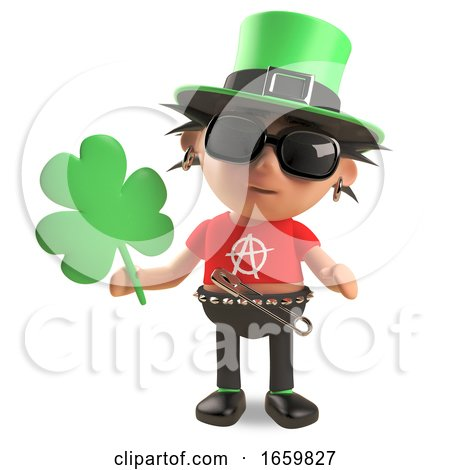 Lucky Irish Punk Rocker with Spikey Hair Wearing a Green Leprechaun Hat and Holding Shamrock by Steve Young