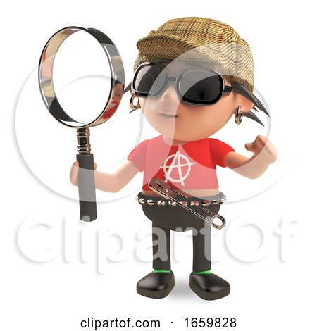 Clever Detective Punk Rocker with Spikey Hair and Deerstalker Hat Holding a Magnifying Glass Looking for Clues by Steve Young