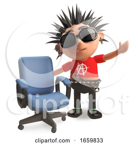 Friendly Punk Rocker with Spikey Hair Has a Vacant Office Chair by Steve Young