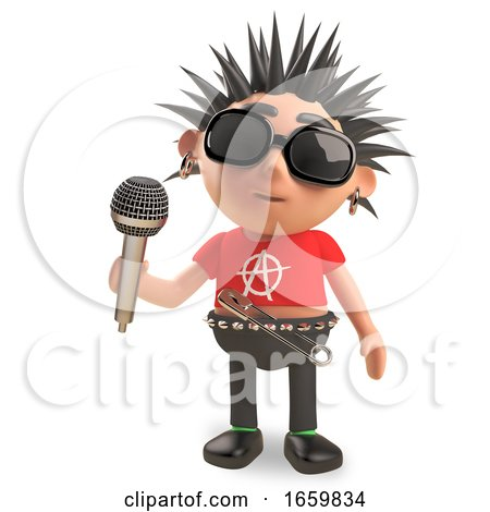 Rotten Punk Rocker with Spikey Hair Sings into the Microphone by Steve Young