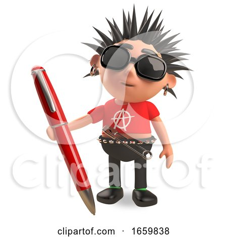 Distracted Punk Rocker with Spikey Hair with a Red Pen by Steve Young