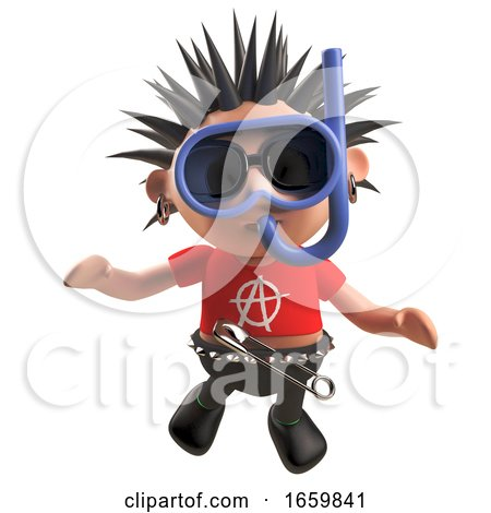 Diving Punk Rocker Underwater Wearing a Snorkel and Divers Mask by Steve Young
