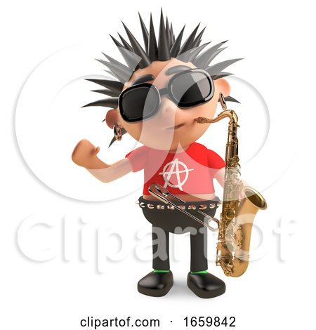 Musical Punk Rocker with Spikey Hair Goes Jazz with a Saxophone by Steve Young