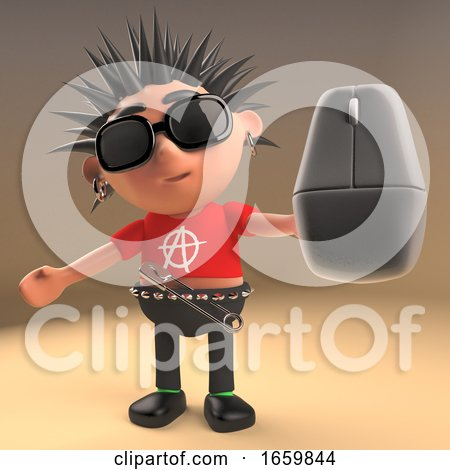 Cartoon 3d Punk Rocker with Spikey Hair Holding a Computer Mouse by Steve Young