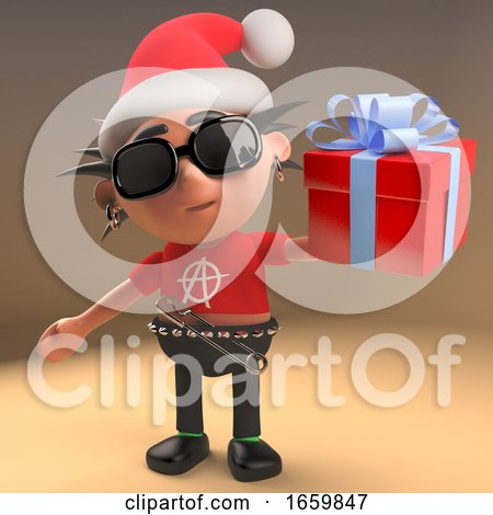 Silly 3d Punk Rock Character with Spikey Hair and Santa Hat Holding a Gift Wrapped Present by Steve Young