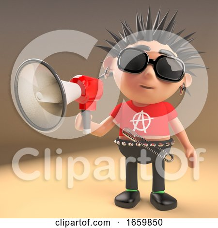 Funny Cartoon Punk Rocker Character Using a Megaphone Loudhailer by Steve Young