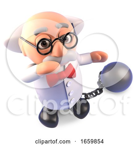 Funny Mad Scientist Professor Character Wearing a Ball and Chain As Punishment by Steve Young