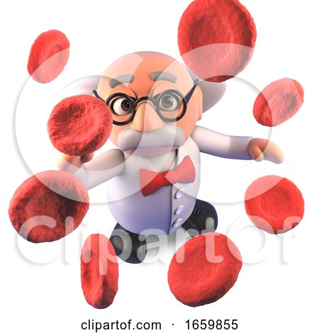 Cool Mad Scientist Professor Character Studying up Close Blood Cells Plasma by Steve Young