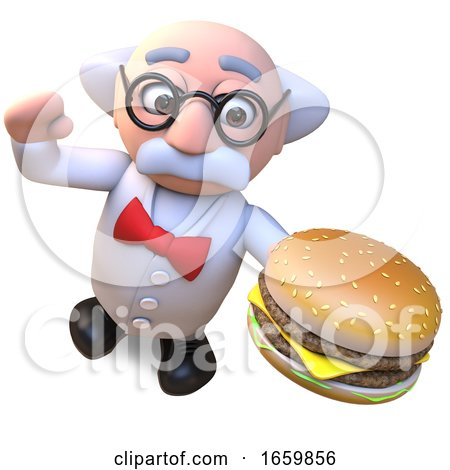 Mad Scientist Professor Character Eating a Giant Cheese Burger Snack by Steve Young