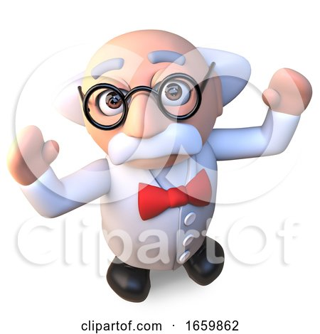 Happy Mad Scientist Professor Character Cheering with Joy 3d Illustration by Steve Young