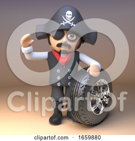 Pirate Captain Wearing Skull and Crossbones Jolly Roger Hat and Eyepatch Waves and Holds a Car Tyre and Rim by Steve Young