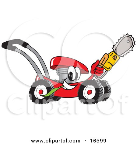 Clipart Picture of a Red Lawn Mower Mascot Cartoon Character Holding up a Saw by Toons4Biz