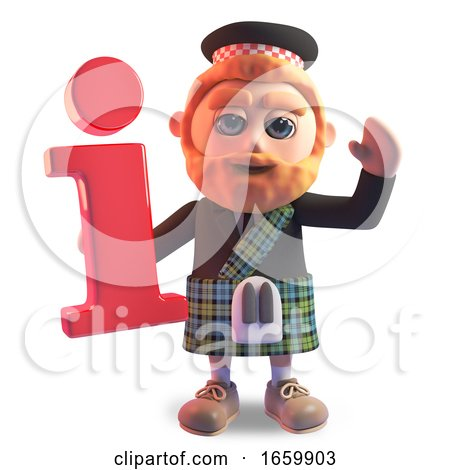 Funny 3d Cartoon Scottish Man with Red Beard and Kilt Holding an Information Symbol by Steve Young
