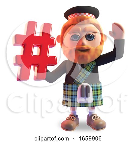 Bearded Scottish Man in Traditional Kilt Waves and Holds a Hashtag Internet Symbol by Steve Young