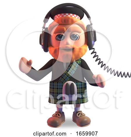 Relaxed Scottish Man in Traditional Kilt Listening to Music on His Headphones by Steve Young