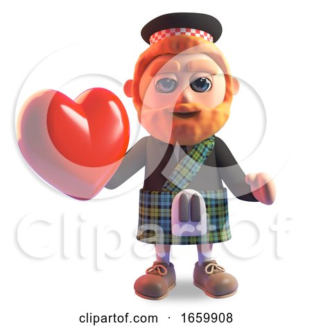 Romantic Scottish Man in Traditional Kilt Holding a Lovely Red Heart by Steve Young