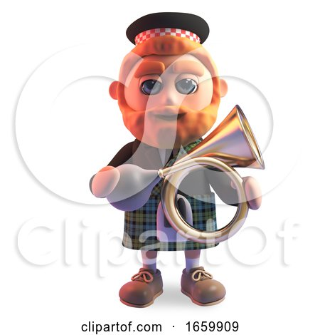 Cartoon 3d Scottish Man with Red Beard and Kilt Holding an Old Antique Car Horn by Steve Young