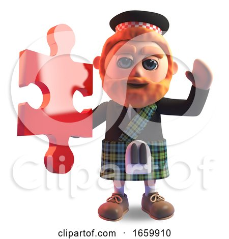 Clever 3d Scottish Man with Red Beard and Kilt Holding a Piece of the Jigsaw Puzzle by Steve Young